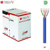 Kabel instalacyjny TechlyPro ITP6-CCA-305-BL skrętka Cat6 UTP 4x2 drut CCA 305m, niebieska