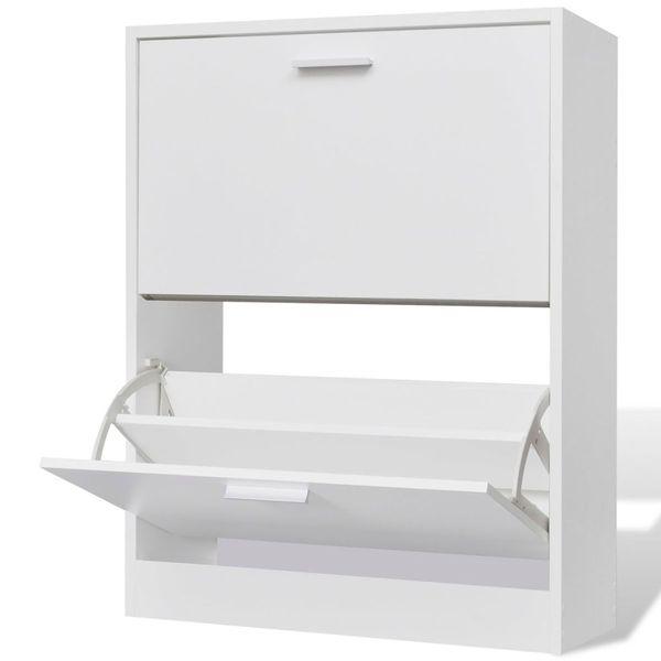 Biała drewniana szafka na buty, z 2 przegrodami zdjęcie 1