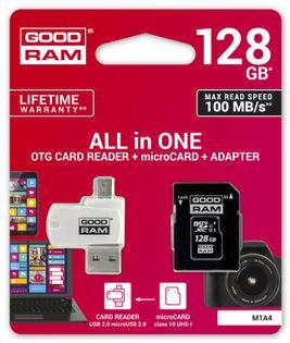 GoodRam Karta pamięci z adapterem i czytnikiem kart GoodRam All in one M1A4-1280R12 (128GB; Class 10) Foster