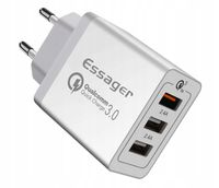Ładowarka sieciowa 3xUSB Essager 30W 2.4A+ QC 3.0 biała