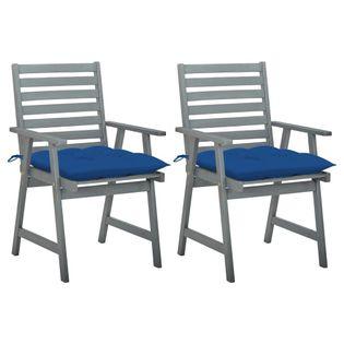 Lumarko Krzesła ogrodowe z poduszkami, 2 szt., lite drewno akacjowe;