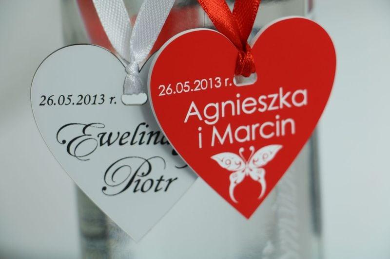 Zawieszki na butelkę ozdoby ślubne dekoracja stołu na Arena.pl