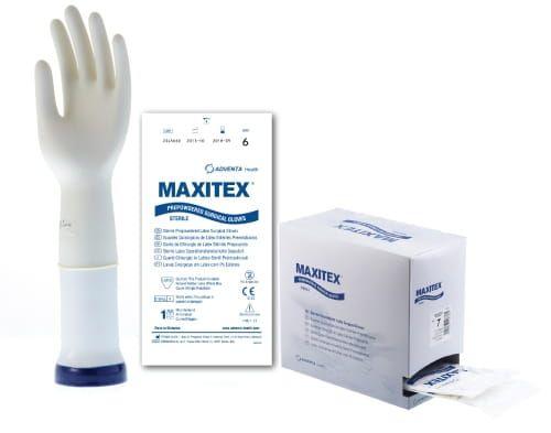 Roz. 7,5 (M) - Rękawiczki lateksowe, pudrowane, sterylne - MAXITEX ( 1 para) na Arena.pl