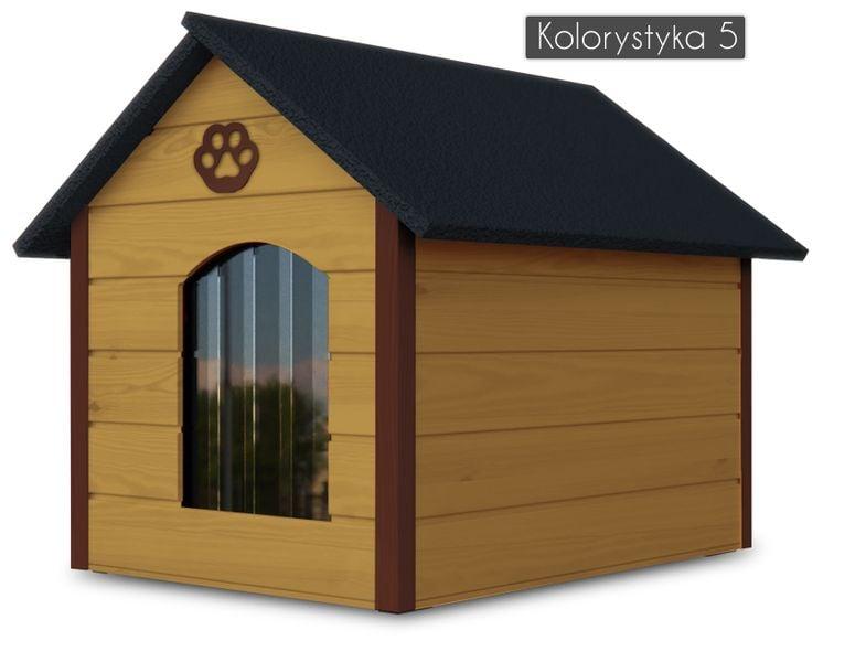 Różne kolory drewniana ocieplana buda dla psa XL solidna + kurtyna na Arena.pl