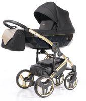 Wózek  Junama Onyx dziecięcy wielofunkcyjny 3w1 złoty  z fotelikiem samochodowym