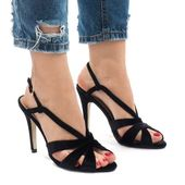 Czarne zamszowe sandały szpilki 9095-138 r.40