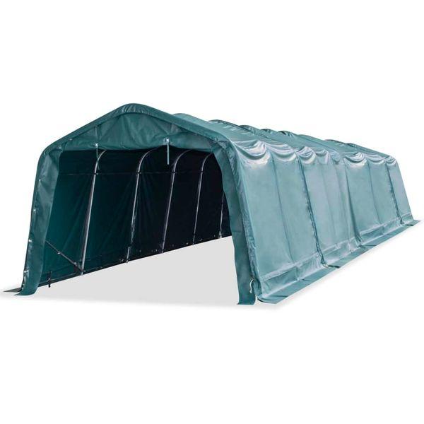 Przenośny namiot dla bydła, PVC, 3,3 x 12,8 m, ciemnozielony zdjęcie 1