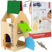 Drewniany Domek z zamkami Edukacyjny Zręcznościowy dla Dzieci