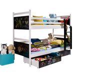 Łóżko piętrowe dwuosobowe FUN 90x200 tablica kreda