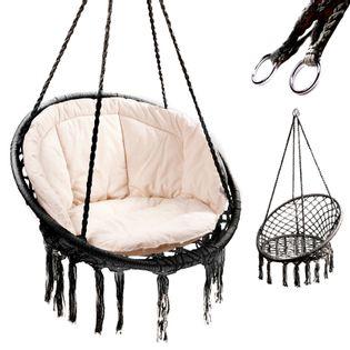 Huśtawka fotel bocianie gniazdo z oparciem czarna 80 z poduszką