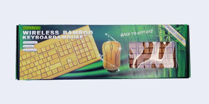 PROMOCJA duża bambusowa KLAWIATURA i mysz ZESTAW zdjęcie 1