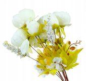 Róża Biała - piękny bukiet z przybraniem 8szt 50cm