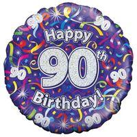 Balon FOLIOWY happy birthday HOLO urodzinowy 90