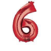Balon foliowy Czerwony cyfra 6 (86 cm)