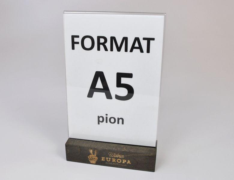 stojak na menu ulotkę plexi + drewniana podstawka z grawerem A5 10 szt na Arena.pl