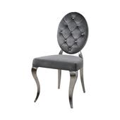 Krzesło glamour Leonardo Dark Grey pikowane guzikami