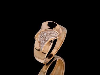 P538 Złoty pierścionek z cyrkoniami /585