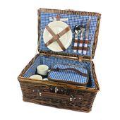 Kosz piknikowy koszyk wiklinowy talerze sztućce zastawa 2 osoby
