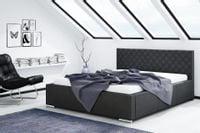 Łóżko VIGO do sypialni Rozmiary - 140x200, Kolorystyka łóżka - Ekoskóra Szara 410 B, Pojemnik na pościel - bez pojemnika na pościel