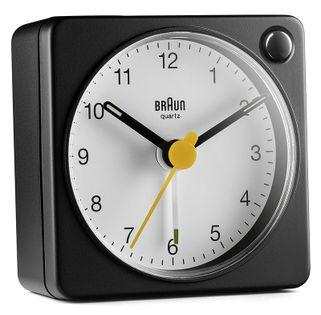 Braun BC02XBW Budzik analogowy, zasilany bateryjnie, alarm, drzemka, podświetlenie