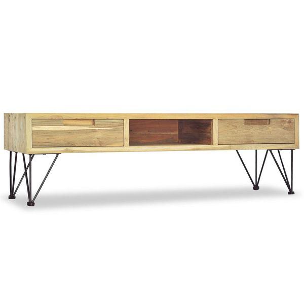 Szafka pod telewizor, 120 x 35 x 35 cm, lite drewno tekowe zdjęcie 4