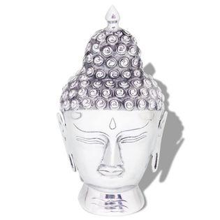 Lumarko Głowa Buddy dekoracyjna na ścianę, aluminium, srebrna