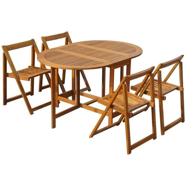 Meble Ogrodowe Stół Cztery Składane Krzesła Zestaw Drewniane
