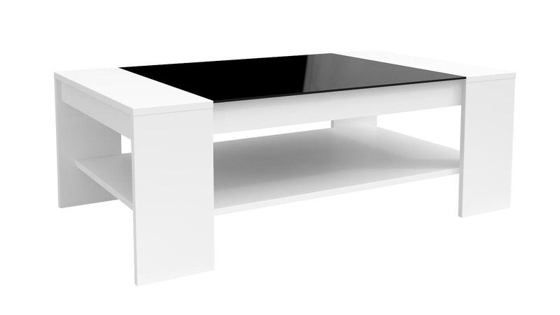 Nowoczesny Biały Stolik Kawowy 110x60 Półka Czarny Blat Szkło