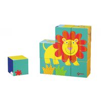 Puzzle Klocki Drewniane Kwadratowe Dzikie Zwierzęta Classic World