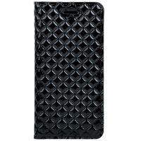 Etui do Lenovo / Motorola Moto G4 / G 4th Gen Smart magnet RFID - Pikowane romby - Czarny Błyszczący Surazo® ze Skóry Naturalnej