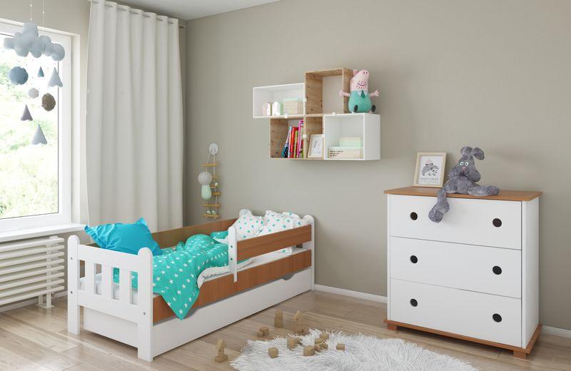 Łóżko STAŚ 140 x 70 z szufladą + barierka ochronna + MATERAC GRATIS zdjęcie 11