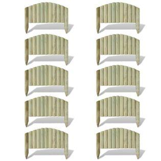 Obrzeże drewniane, 10 paneli, drewno, 55 cm