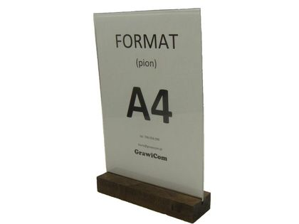 Stojak z plexi na ulotkę menu format A4 T pion