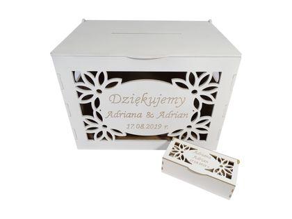 Ślub Pudełko na prezenty koperty + obrączki grawer