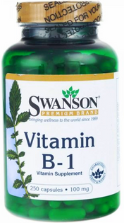Witamina B-1 Tiamina Vitamin B-1 100mg 250 kapsułek SWANSON