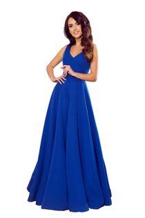 Rozkloszowana sukienka maxi z dekoltem - Niebieski L