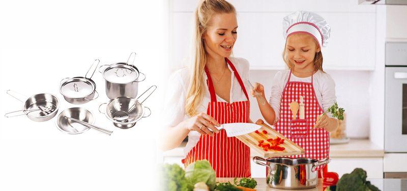 Garnki metalowe dla dzieci akcesoria kuchenne zestaw 14 elementów U30 zdjęcie 2