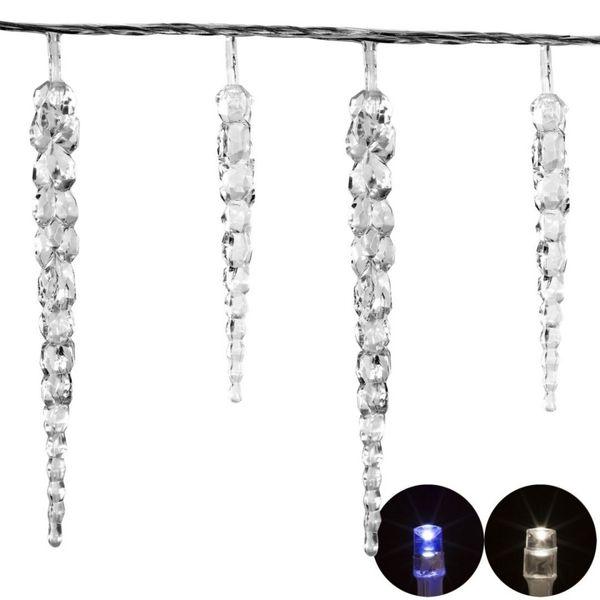Lampki ogrodowe w kształcie sopli 40 LED, zimne białe wew./zew. zdjęcie 4
