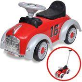 Czerwony samochód-jeździk retro z drążkiem do pchania zdjęcie 1