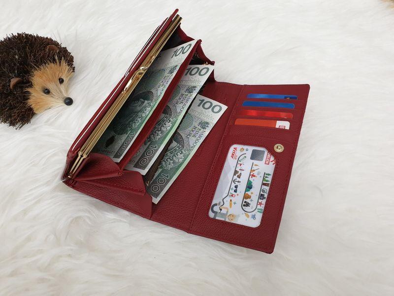 ROVICKY portfel skórzany damski lakierowany liście RFID P090 czerwony zdjęcie 5