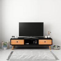 Szafka pod TV, czarna, 120 x 35 x 35 cm, lite drewno sosnowe
