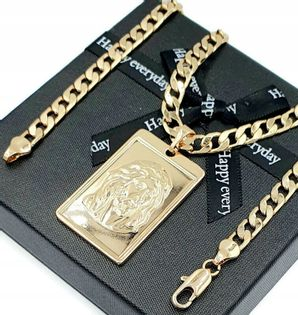 Łańcuszek Krzyż Medalik Stal Złoty Pozłcany 18K