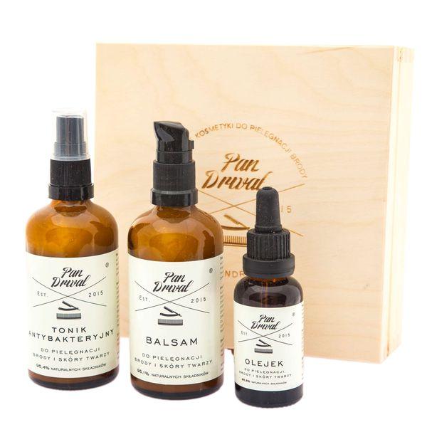 Pan Drwal - zestaw prezentowy do brody - Trzech Drwali olejek, balsam, tonik zdjęcie 1