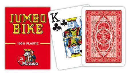 Modiano BIKE TROPHY 2 rogi karty ze 100% plastiku - Czerwone I31303