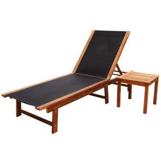 Leżak ze stolikiem lite drewno akacjowe i tkanina textilene