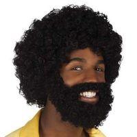 Peruka czarne AFRO XXL z brodą i wąsami jak murzyn