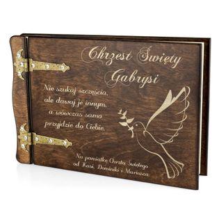 Drewniany ALBUM prezent na CHRZEST roczek GRAWER