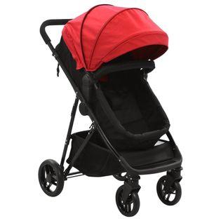 Wózek 2w1 (gondola i spacerówka) czerwony i czarny, stal
