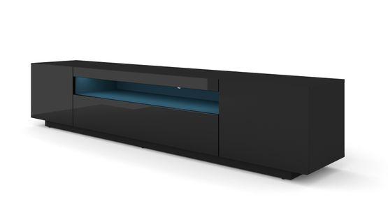 Szafka RTV 200 stojąca czarny wysoki połysk oświetlenie LED