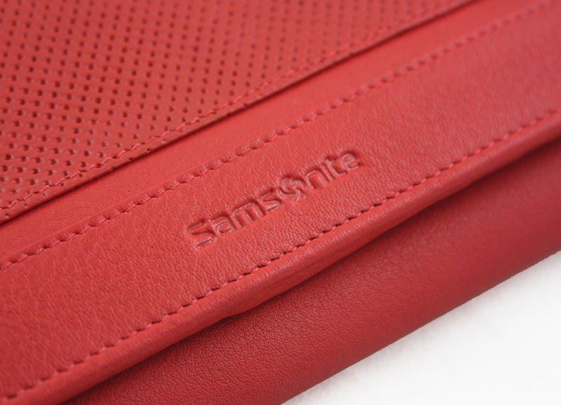 Długi, klasyczny portfel damski Samsonite, skórzany w kolorze czerwonym zdjęcie 9